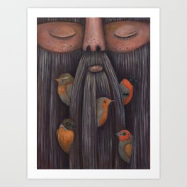 Rip Van Winkle with Birds Art Print