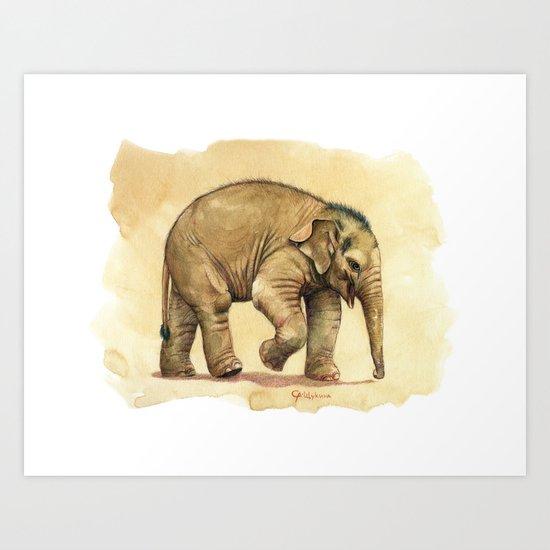 Baby elephant A081 Art Print