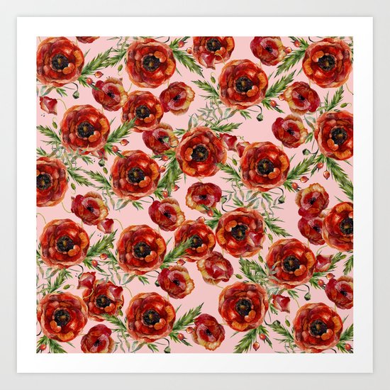 Poppy Pattern On Pink Background Art Print