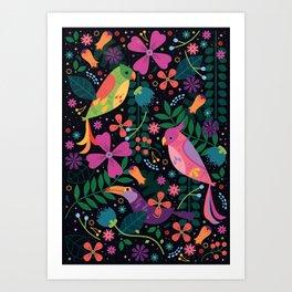 Enchanted Tiki Birds Art Print