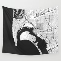 san diego Wall Tapestries featuring San Diego Map Gray by City Art Posters