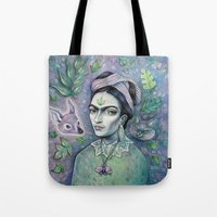 magical girl Tote Bags featuring Magical Girl Frida by Brettisagirl