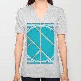 Leaf - circle/line graphic Unisex V-Neck