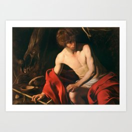 John the Baptist by Caravaggio, circa 1603 Art Print
