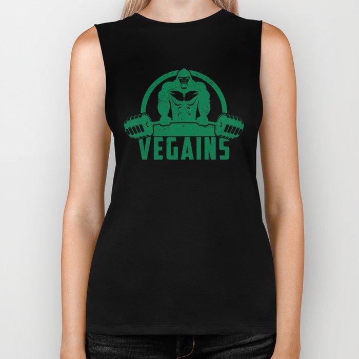 Vegains Vegan Muscle Gorilla - Funny Workout Quote Gift Biker Tank