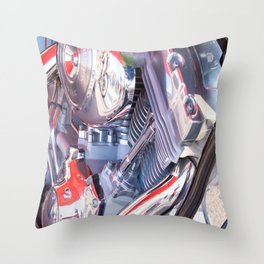 Chromed motorbike engine Throw Pillow