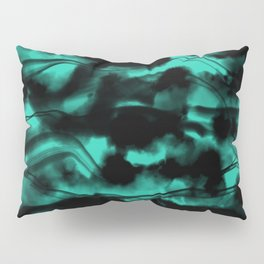 Moody Neon Mint Green Fog All Over Painting Texture with Streaky Leaks. Trendy Abstract Dark Mood Pillow Sham