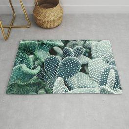 Prickly Pear Cactus Blue Green Digital Nature Art Rug