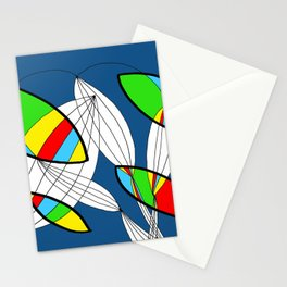 4 colors Organic objects on Blue Stationery Cards