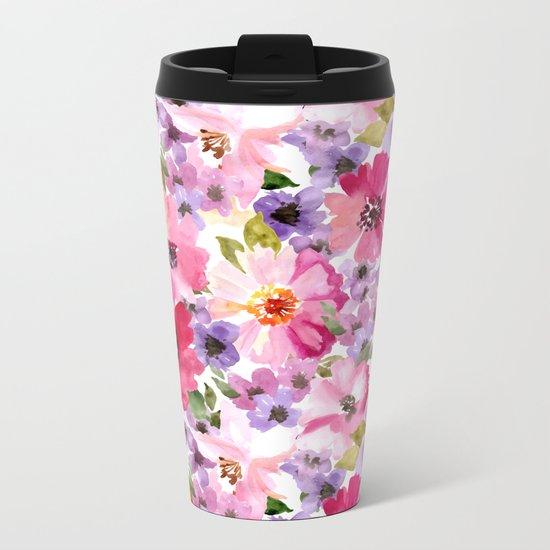 FLOWERS WATERCOLOR 6 Metal Travel Mug