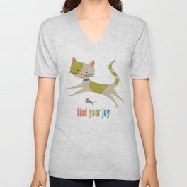 Find Your Joy Cat and Mouse Unisex V-Neck