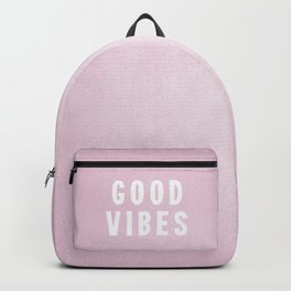 Pink and White Distressed Ink Good Vibes Backpack