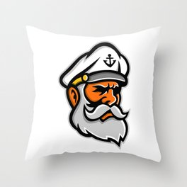 Seadog Sea Captain Head Mascot Throw Pillow