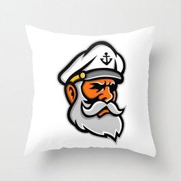 Seadog Sea Captain Head Mascot Throw Pillow