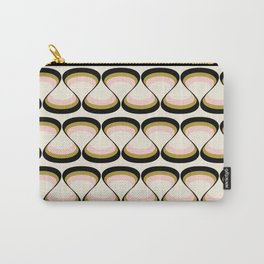 Olive Green, Pink, and Black Retro Wavy Line Pattern Carry-All Pouch