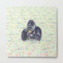 Gorilla Meadow Metal Print