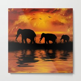 Elephant Safari Metal Print