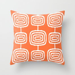 Mid Century Modern Atomic Rings Pattern 771 Orange Throw Pillow
