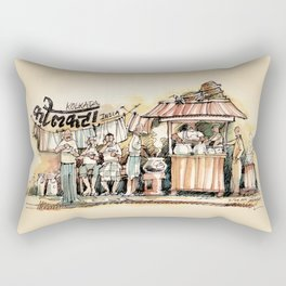 Kolkata India Sketch in Watercolor | City View | Street Food Stall | Calcutta West Bengal Rectangular Pillow