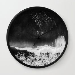 Surfer girls from above in Ericeira Portugal | Ocean wanderlust photography black and white print Wall Clock