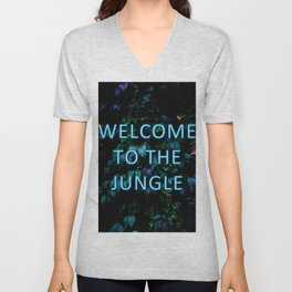 Welcome to the Jungle - Neon Typography Unisex V-Neck