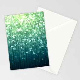 Spring Teal Green Sparkles Stationery Cards