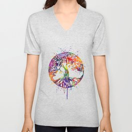 Tree of Life Colorful Watercolor Art Unisex V-Neck