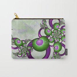 Young Love, Fractal Art With Green Pink Hearts Carry-All Pouch