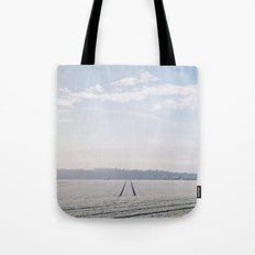 Rural scene covered in a thick hoar frost. Norfolk, UK. Tote Bag