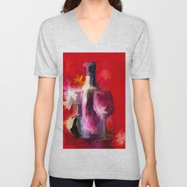 Colorful Modern Wine Art - Wine Bottle & glasses) Unisex V-Neck