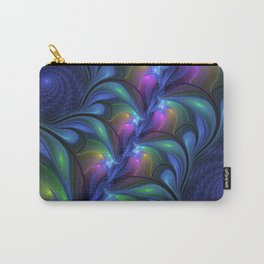 Colorful Luminous Abstract Blue Pink Green Fractal Carry-All Pouch