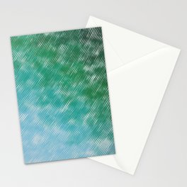Rainy Day On Sea & Forest, Green, Blue, pattern Stationery Cards