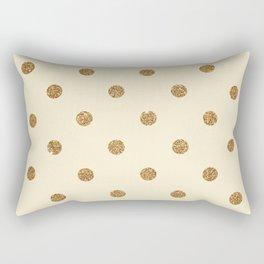 Blanched Almond Gold Glitter Dot Pattern Rectangular Pillow