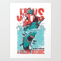 jaws Art Prints featuring Jaws by Tshirt-Factory