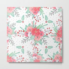 Pretty watercolor Christmas floral and dots design Metal Print