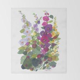 Purple Hollyhock Garden Throw Blanket