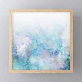 Fresh Blue and Aqua Ombre Frozen Marble Framed Mini Art Print