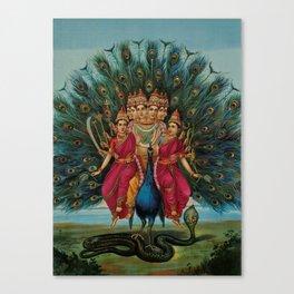 Sri Shanmukaha Subramania Swami by Raja Ravi Varma Canvas Print