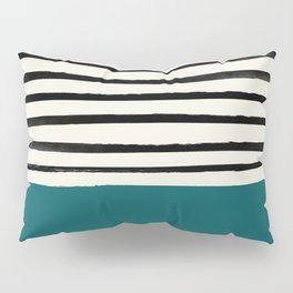 Dark Turquoise & Stripes Pillow Sham