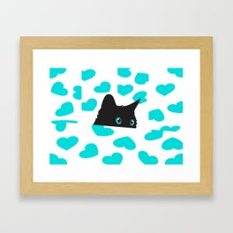Cat on Blanket with Hearts Framed Art Print