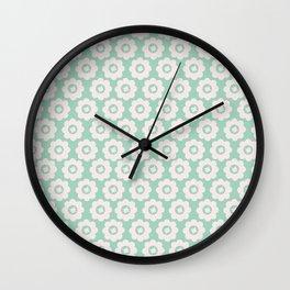 Duck Egg Blue Retro Floral Wall Clock