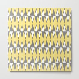 Mid Century Modern Diamond Pattern Yellow and Gray 232 Metal Print