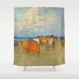Numazaki Pasture (Numazaki Bokujo) Hiroshi Yoshida Vintage Japanese Woodblock Print Shower Curtain