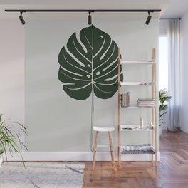 Split Philodendron Leaf Illustration Wall Mural