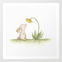 Cute Little Bunny Rabbit watercolour painting nursery art illustration Art Print