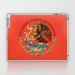 Close up of the Seal from the flag of Mexico on Adobe red background Laptop & iPad Skin