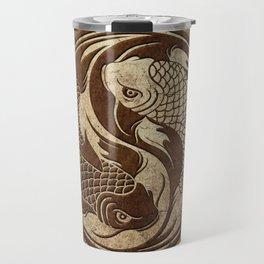 Yin Yang Koi Fish with Rough Texture Effect Travel Mug
