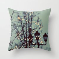 dragon ball z Throw Pillows featuring Winter Lights by elle moss