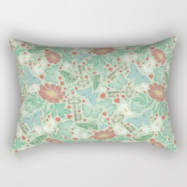 Green and blue butterflies with keys and flowers on light background Rectangular Pillow