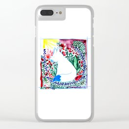 white fox in flowers landscape Clear iPhone Case